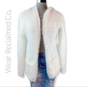GARAGE Fuzzy Knit Hooded Open Cardigan